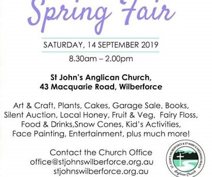 Spring Fair Art & Craft Show at St John's Anglican Church Wilberforce – Saturday 14th September 2019