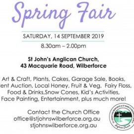 Reminder: Spring Fair Art & Craft Show at St John's Anglican Church Wilberforce – Saturday 14th September 2019